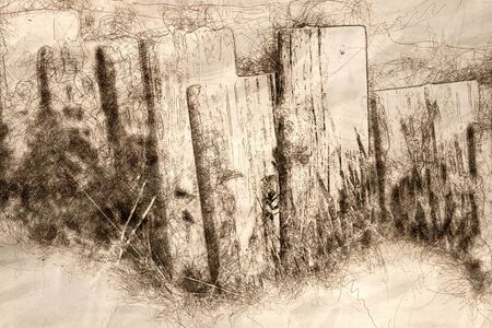 Sketch of a Weathered Wooden Fence on a Spring Morning 版權商用圖片