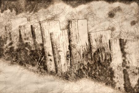 Sketch of a Weathered Wooden Fence on a Spring Morning 版權商用圖片 - 134274153