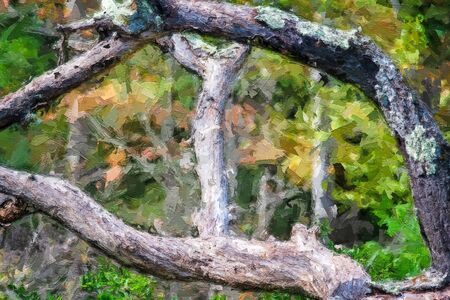 Impressionistic Style Painting of Dead Tree Hidden Deep in the Green Forest Imagens - 138297855