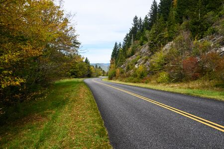 Roadway Meandering Through the Autumn Appalachian Mountains Along the Blue Ridge Parkway
