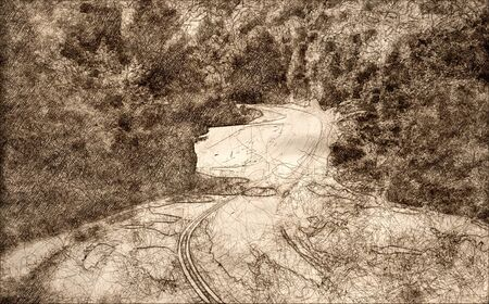 Sketch of a Meandering Roadway Through the Appalachian Mountain Along the Blue Ridge Parkway