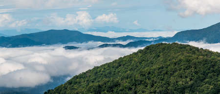 Foggy Morning in the Valleys of the Appalachian Mountains View from The Blue Ridge Parkway