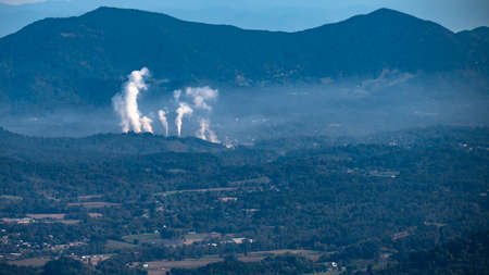 White Plumes of Smoke Rising in the Appalachian Mountains Viewed Along the Blue Ridge Parkway