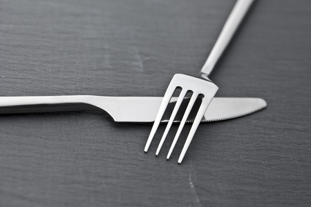 cutlery at stone slab restaurant Stock Photo - 10953038