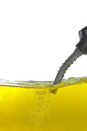 oil drops: gasoline pump nozzle Stock Photo