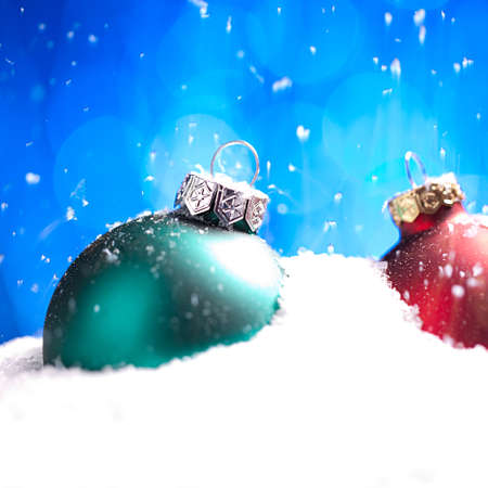 christmas balls with snow photo
