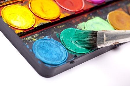 water colors with brush bristles photo