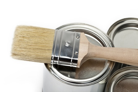 three paint buckets with paint brush Stock Photo - 11210223