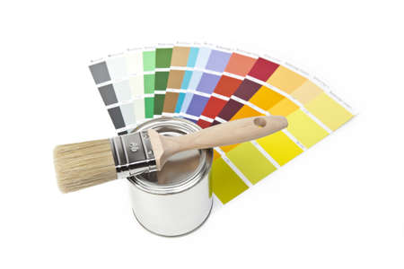 paint buckets with paint brush and color-curricular photo