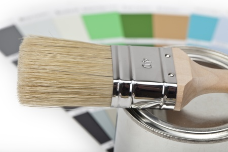 roller brush: paint buckets with paint brush and color-curricular