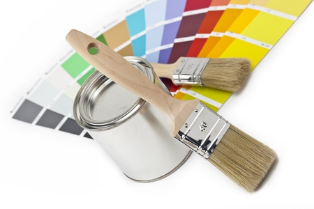 paint bucket and brush with two color farbf�cher photo