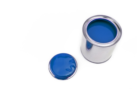 ral: paint bucket lid with blue color Stock Photo