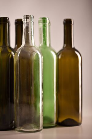 recycling center: several wine glass bottles Stock Photo