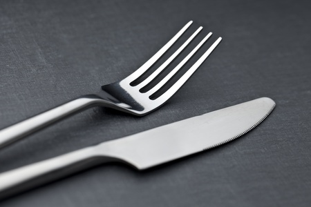 cutlery on a slate plate photo