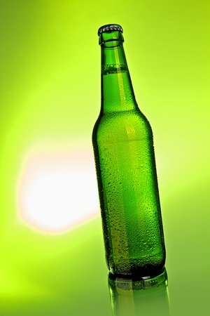 green bottle: beer bottle with drops