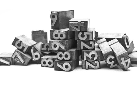 letterpress: lead letter bunch of numbers Stock Photo