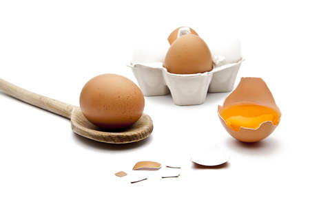 osterfest: Brown egg on a spoon