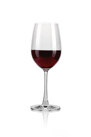 Red wine glass against a white background