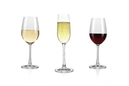 white wine glass: White wine glass with red wine and sparkling wine against a white background Stock Photo