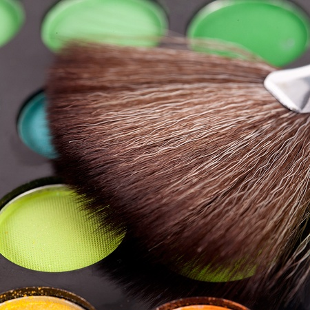 hair brush: powder brushes  multicolour background Stock Photo