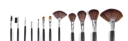 make up brushes: powder brushes  white background