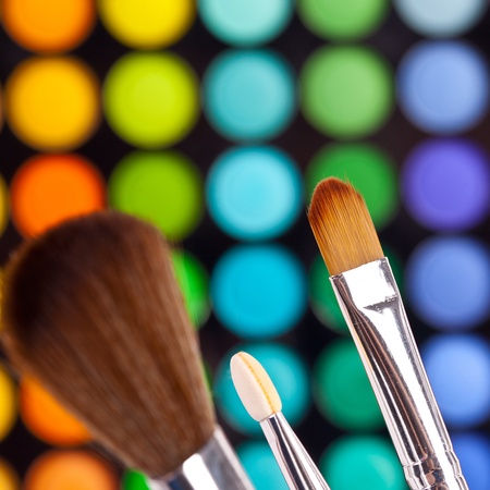 powder brushes  multicolour background Stock Photo - 11588366