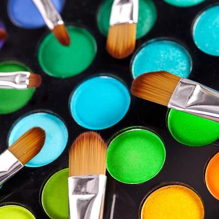 color range: powder brushes  multicolour background Stock Photo