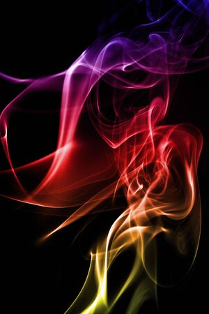 smoky: multicolored smoke forming waves on Black background