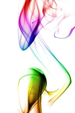 undulation: multicolored smoke forming waves on white background