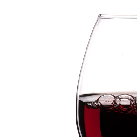 Red Wine Glas silhouette with Bubbels on White Background