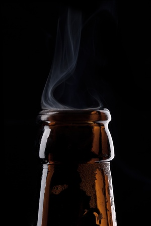 glass of beer: Beer bottle neck with dust