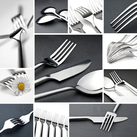 crockery: Table cutlery collage