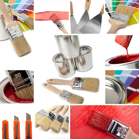 home improvement store: renovate and Painting collage Stock Photo