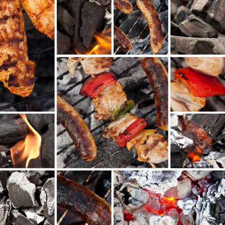 chorizos asados: barbacoa collage de la parrilla