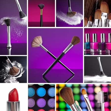 eyeshadow: Cosmetics and Make-up Collage Stock Photo
