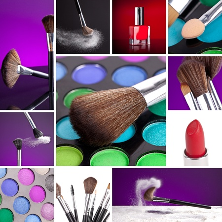 Cosmetics and Make-up Collage Stock Photo - 12085120