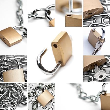 security door: padlock Collage Stock Photo