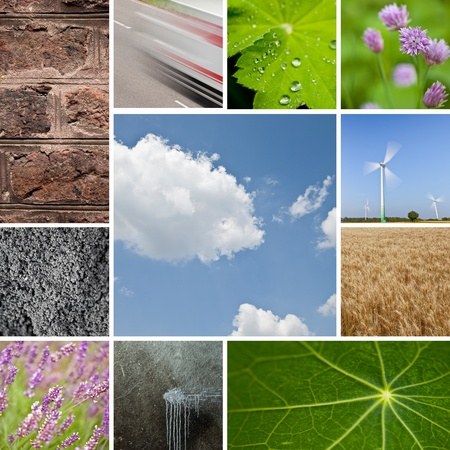bionics: Environmental natural stone lotus leaf water drops lavender sky collage