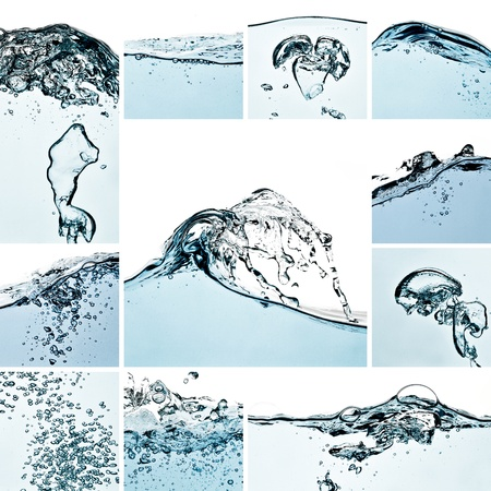 wetness: water waves splash collage