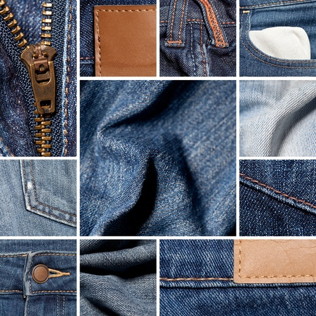 scuffed: Jeans material Collage Stock Photo