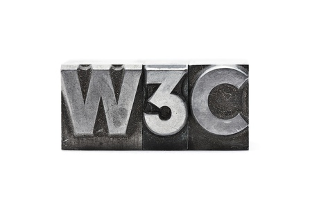 w3c: lead letter word W3C on white background