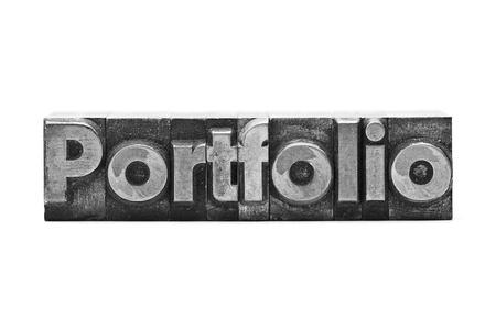 lead letter word Portfolio on white background Stock Photo - 12237525