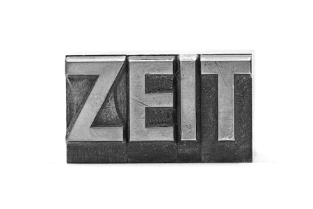 lead letter word zeit on white background Stock Photo