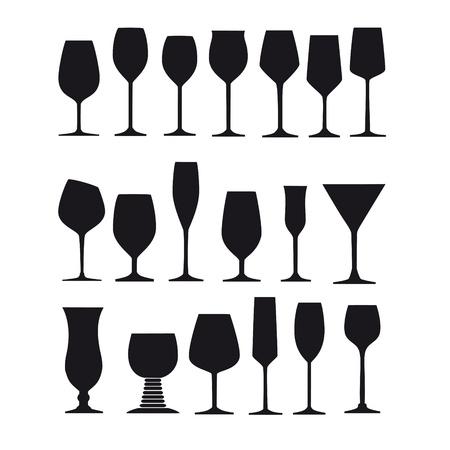 long drink verre vitrier vin de liqueur gobelet silhouette esprit champagne verre de vin verre à verre Vecteurs
