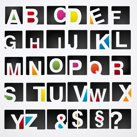 abc alphabet letters children learn basic school logo icon pictogram magazine set collection Vector