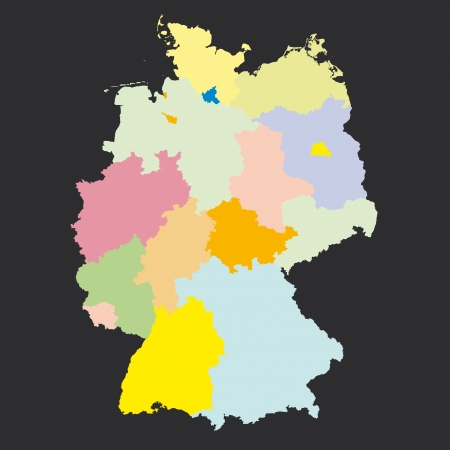 Germany Regions Card Map Geo Map Brd Federal Republic Of Germany