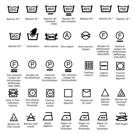 lavamanos: Símbolos textiles de atención lavado suavizado de limpieza en seco lavado símbolo señal lavado grado Vectores