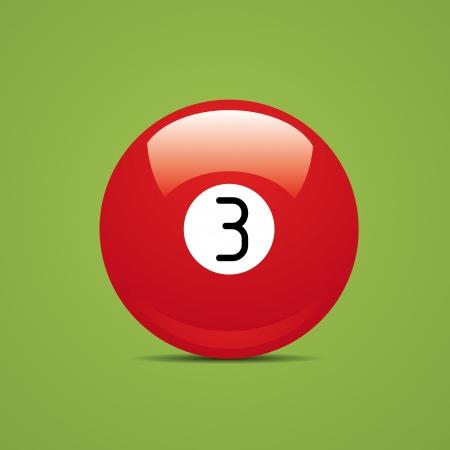 Full Billiard ball number three 3 Sport pool Game hobby cue restaurant table green Stock Vector - 14757841