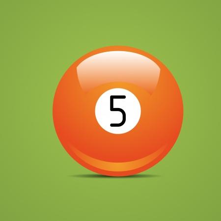 Pieno Billiard ball numero cinque 5 Sport piscina gioco hobby cue ristorante tavolo verde