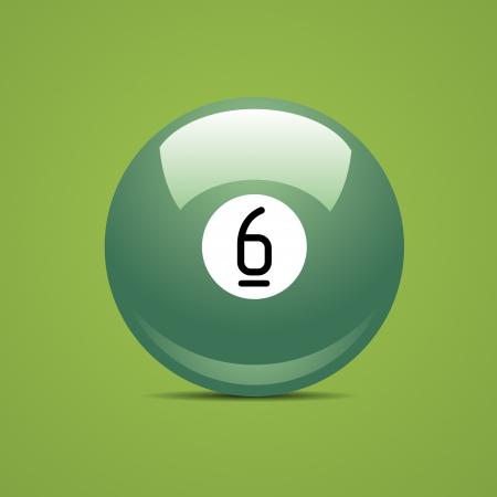 pool game: Full Billiard ball number six 6 Sport pool Game hobby cue restaurant table green Illustration